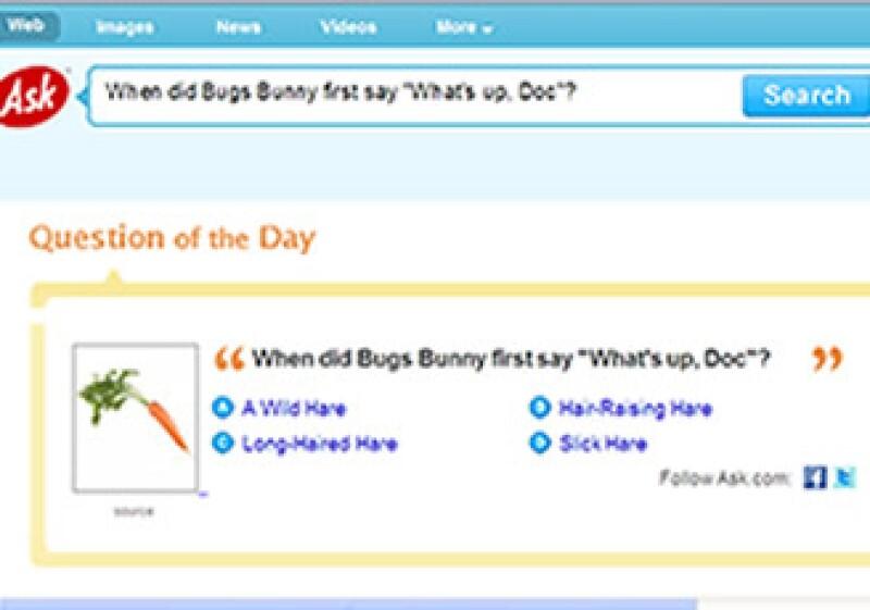 """En la imagen se muestra """"La pregunta del día"""" en Ask.com: """"Cuándo dijo Bugs Bunny 'Qué hay de nuevo viejo' por primera vez"""". (Foto: Especial)"""