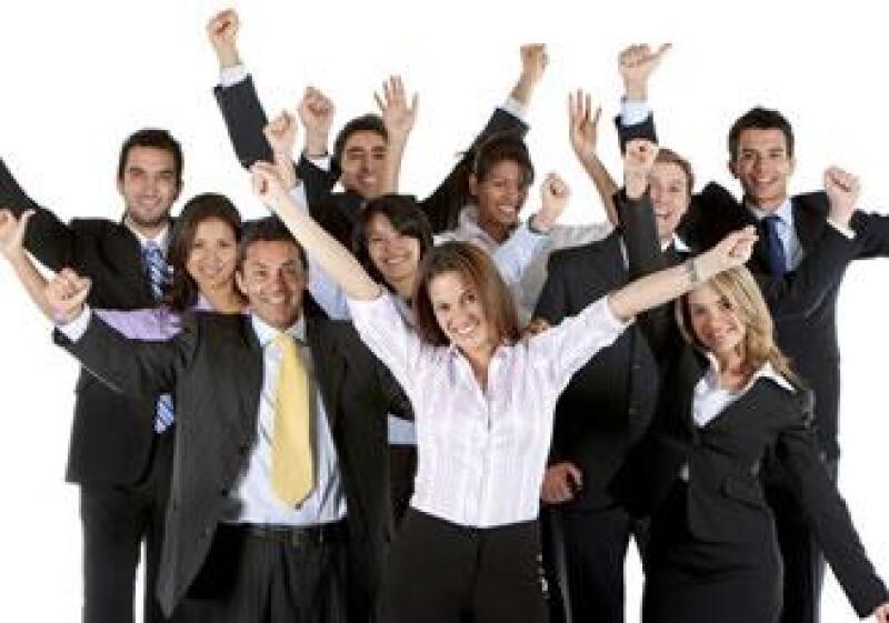 trabajo equipo feliz