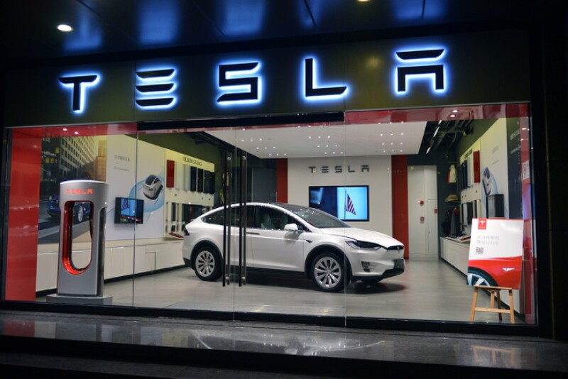Tesla on display in Shanghai