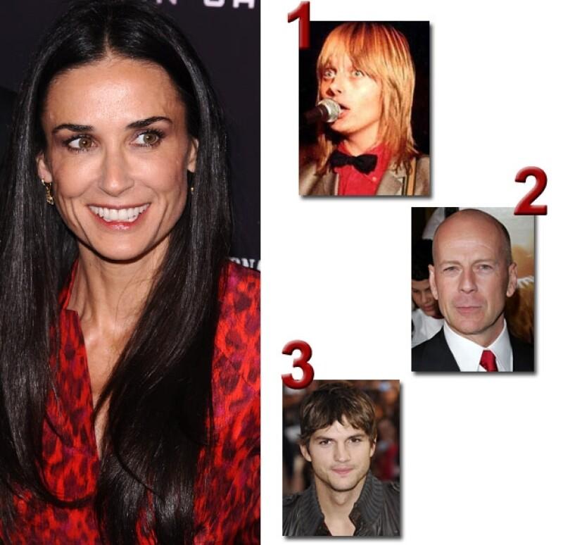 Esposo #1 Freddy Moore; esposo #2 Bruce Willis; esposo #3 Ashton Kutcher.