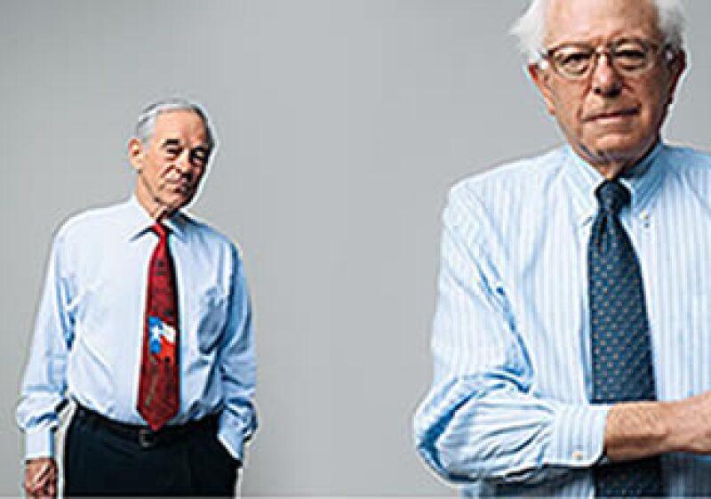 Los senadores Bernie Sanders (derecha) y Paul Ron (izquierda) apuestan por un cambio en la Reserva Federal de EU. (Foto: Peter Yang)