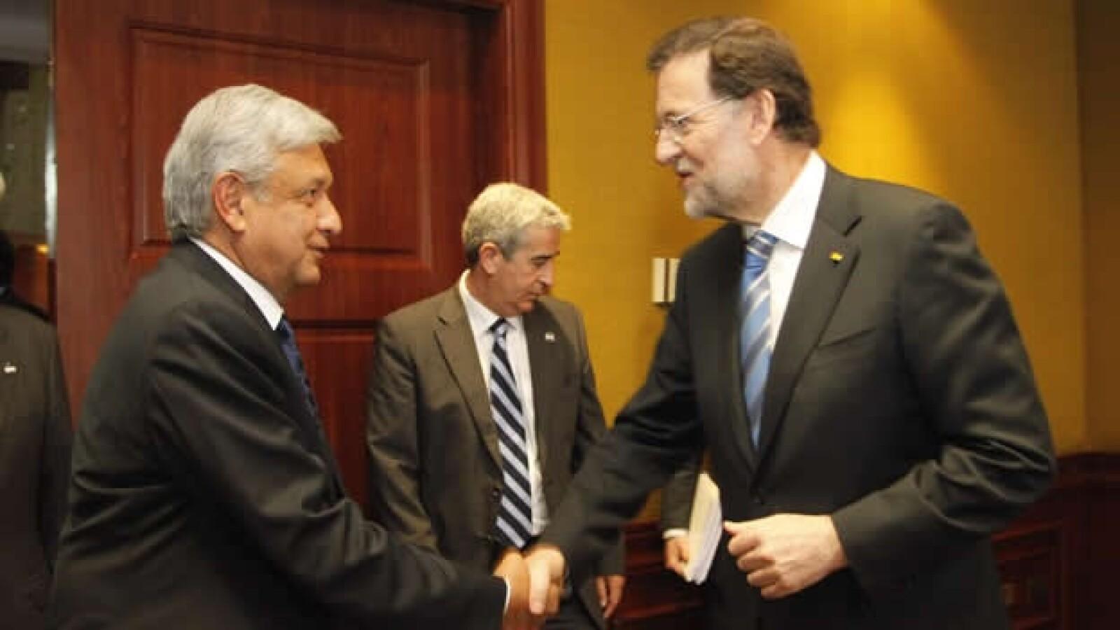 López Obrador con Mariano Rajoy