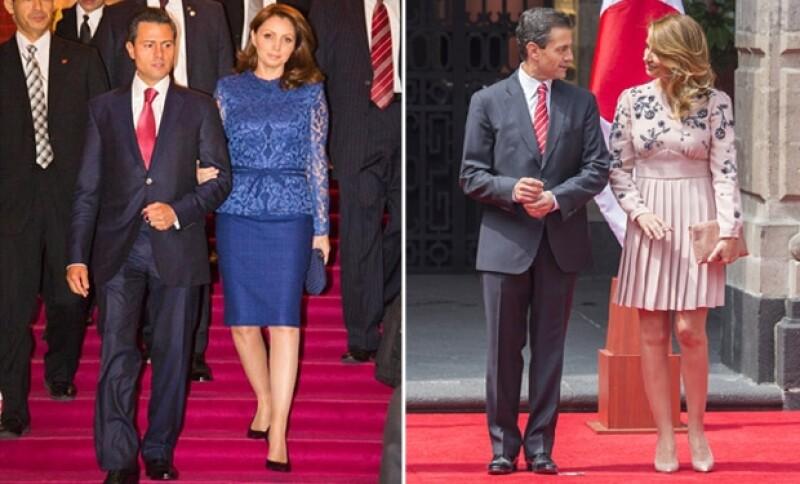 Es más común ver a Angélica Rivera con faldas, aquí, durante sus giras a Japón en 2013 y 2014 respectivamente.