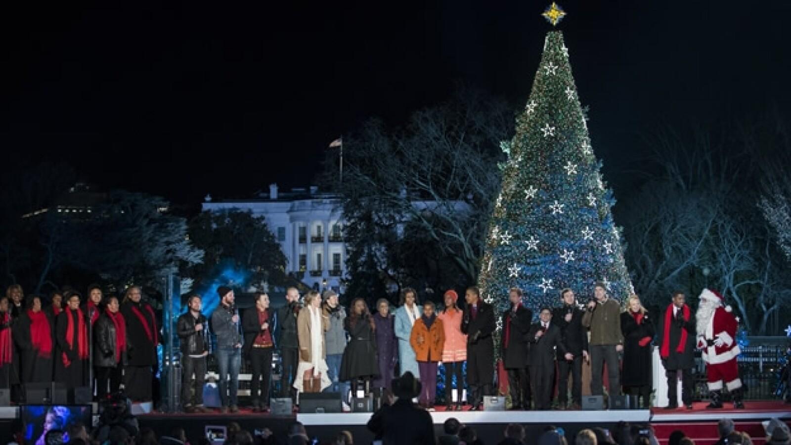 arbol de navidad, casa blanca