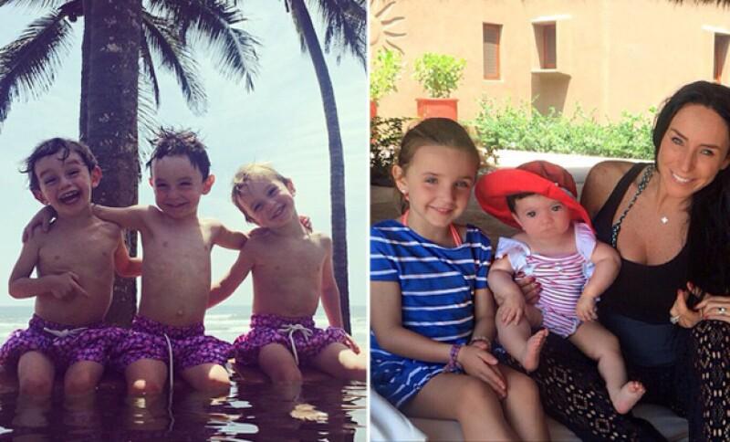 Inés se escapó a la playa con sus hijos a casa de una de sus amigas. Ellos parecían muy felices.