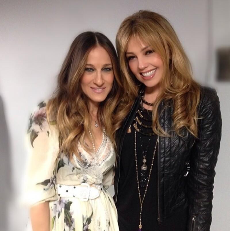 Thalía con Sarah Jessica Parker.