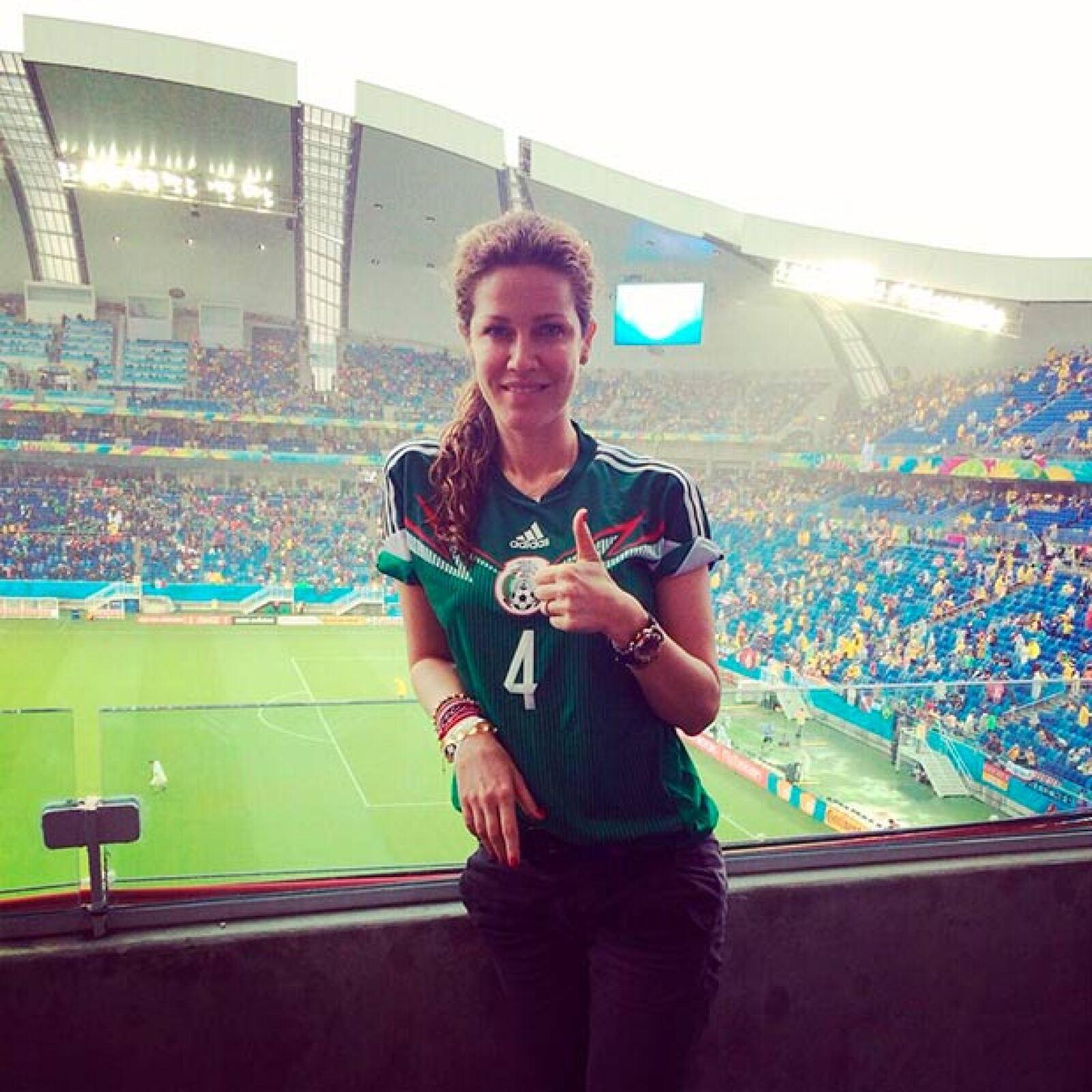 La atractiva Jaydy Michel, esposa de Rafa Márquez, compartió esta foto cuando apoyaba al Tri.