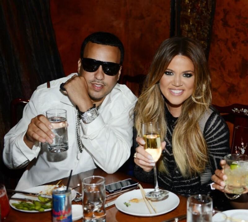 Khloé y French Montana brindando el pasado viernes en Las Vegas.