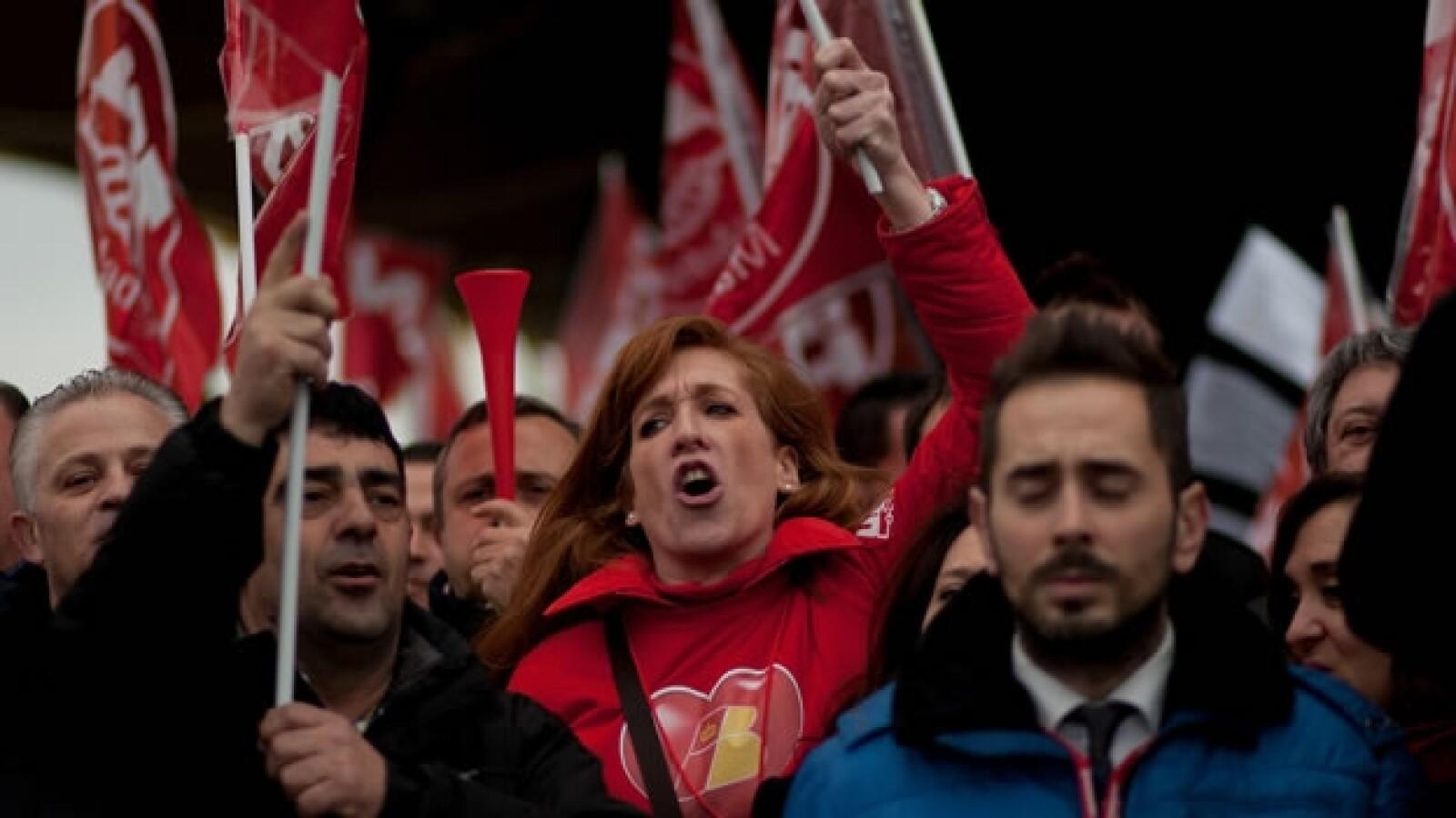 protesta de trabajadores en el aeropuerto de barajas