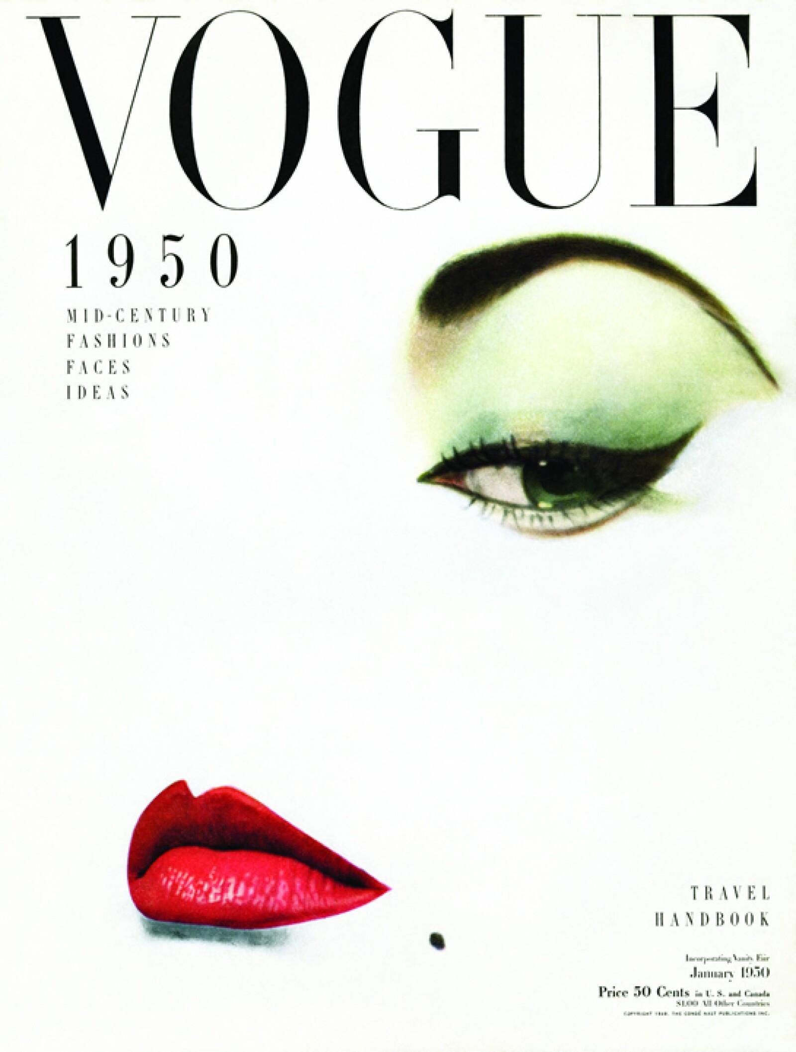 Vogue, enero 1950: Erwin Blumenfeld, un fotógrafo de moda reconocido en su época, empezó a mezclar el dadaísmo con las fotos para esta portada de Vogue.