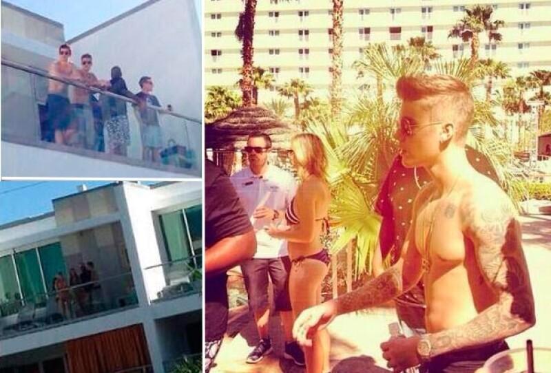 Testigos aseguraron que Justin se paseó sin camisa luciendo sus abs y sus tatuajes.