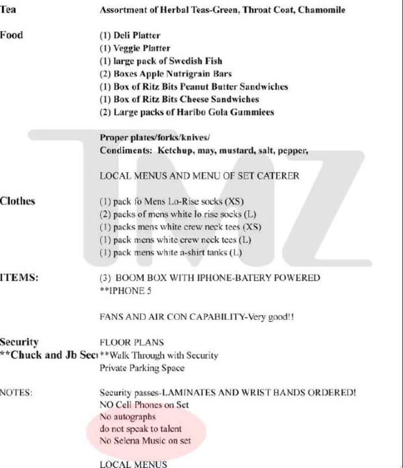El portal TMZ filtró la lista de extrañas peticiones que hace Justin para sus sesiones fotográficas, y entre ellas hay una que prohibe reproducir música de su ex novia durante la sesión.