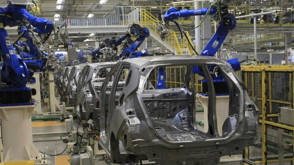 A production line is seen after the opening of Honda's new automobile plant in a suburb of Celaya, Guanajuato