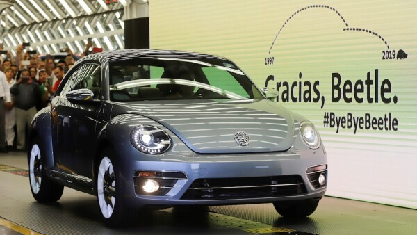 A Volkswagen Beetle car is displayed during a ceremony marking the end of production of VW Beetle cars, at company's assembly plant in Puebla