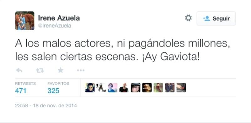 Irene Azuela es otra de las actrices que expresó su inconformismo.