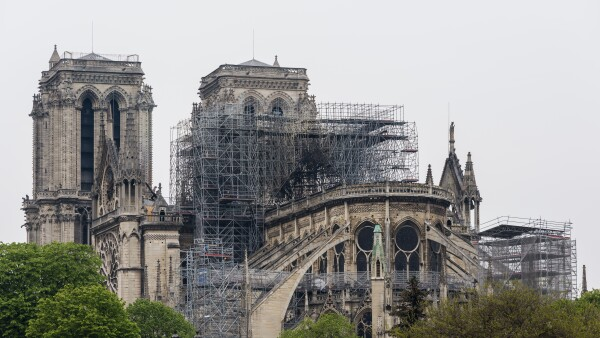 Notre Dame in Paris one day after the fire from 15.4.2019