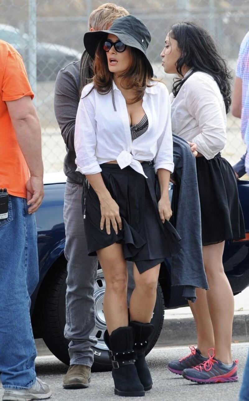 Salma lució muy sensual en la grabación en Los Ángeles.