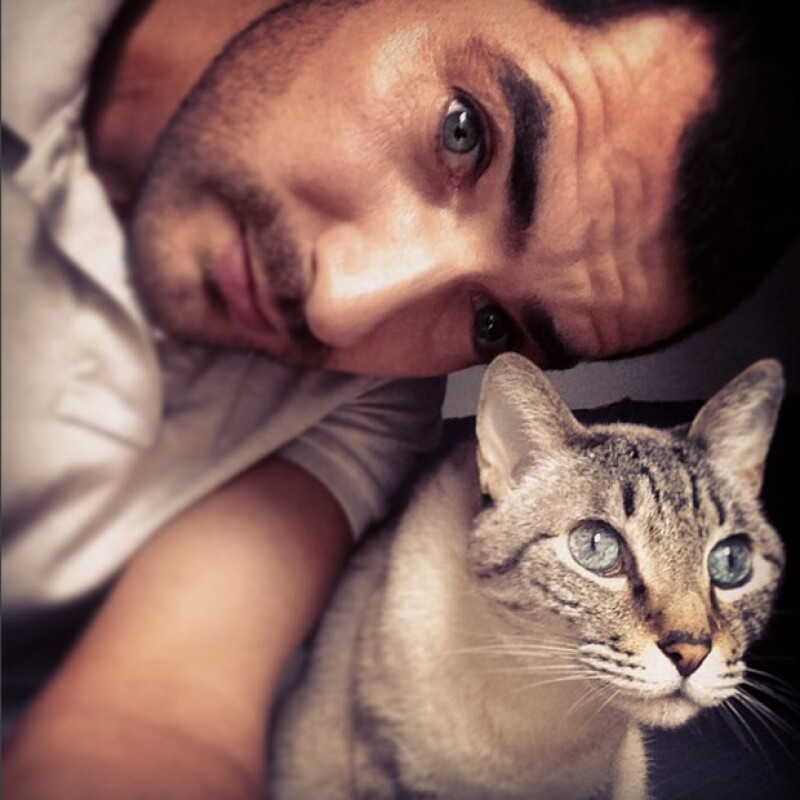 Manuel Balbi en un momento de descanso con su querido gato Bruno.