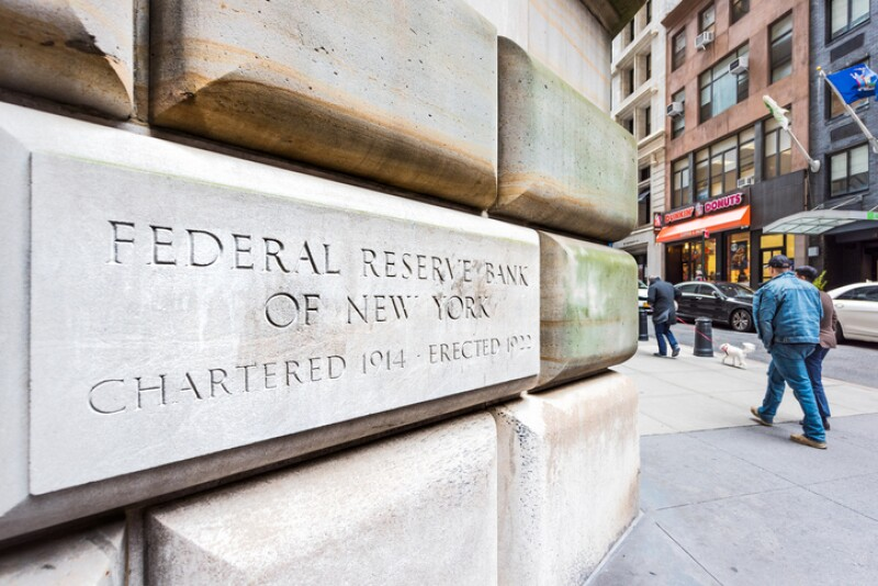 Federal Reserve Bank sign closeup in downtown lower financial district Manhattan NYC