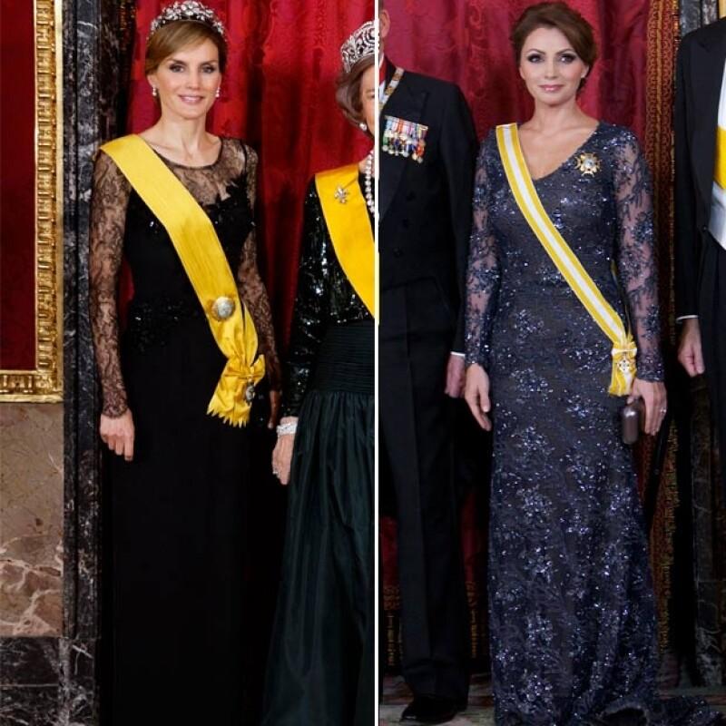 La primera dama de México y la futura reina de España gustaron con sus elecciones de outfit para la cena de gala que ofrecieron los monarcas españoles al presidente Enrique Peña Nieto.