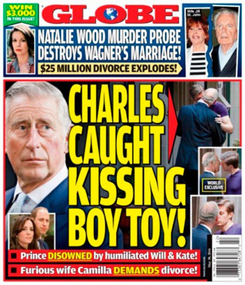 """American Globe Magazine publica una serie de fotografías en las que aparentente aparece el hijo de la reina Isabel II besando a un joven, quien se dice es su """"boy toy""""."""
