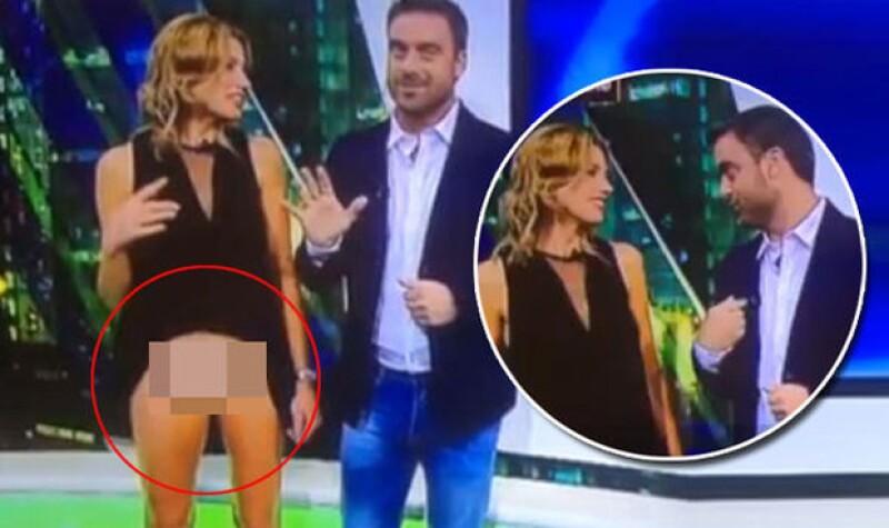 Alina Moine, de Santa Fe, Argentina, sufrió un momento súper incómodo cuando estaba hablando de los juegos olímpicos en Río de Janeiro y levantó su vestido sin darse cuenta.