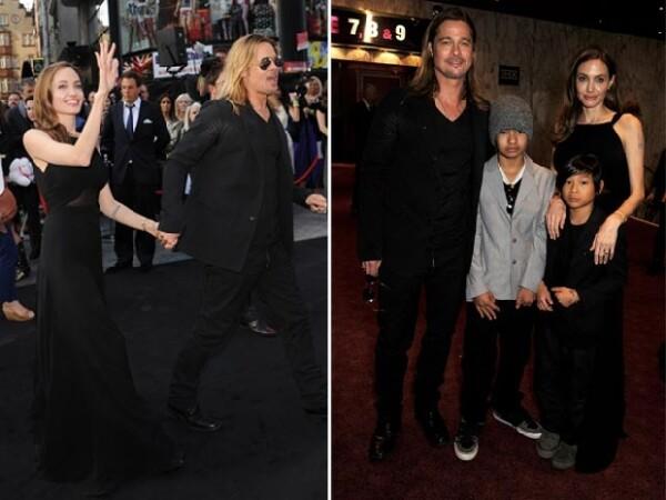 Jolie lució sonriente y muy enamorada de Pitt. Al estreno también asistieron sus hijos Maddox y Pax.