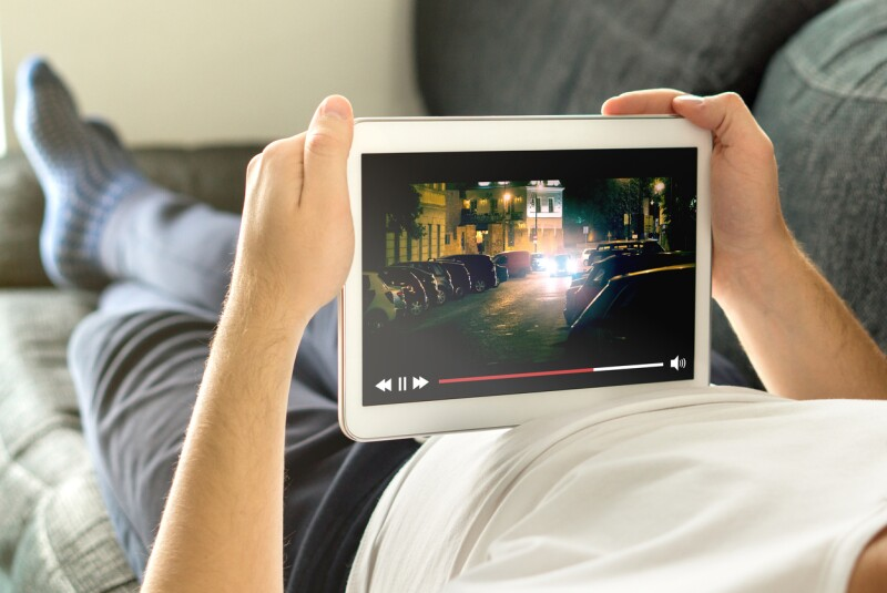Online movie stream with mobile device.