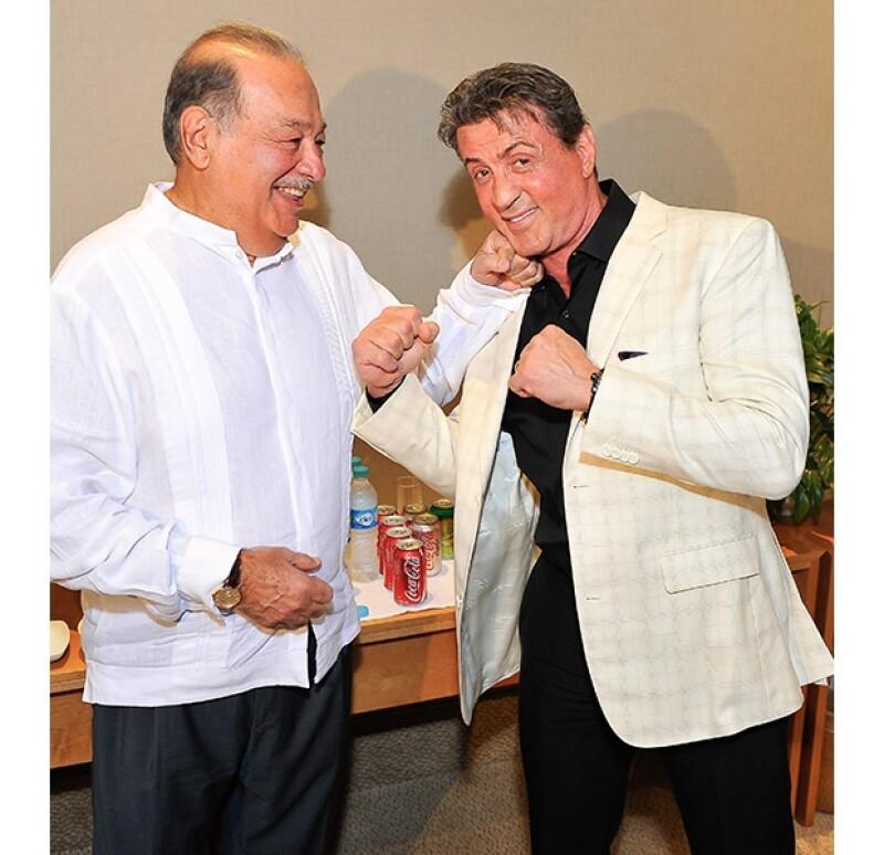 El empresario y el actor bromearon en algunas fotografías, haciendo alusión a Rocky.