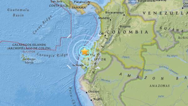 El movimiento telúrico se registró en la costa de Ecuador, a unos 25 kilómetros al oeste de Muisine, según el Servicio Geológico de Estados Unidos.