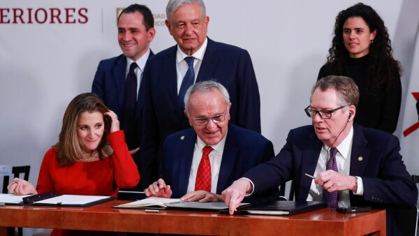 U.S.-Mexico-Canada Agreement (USMCA) signing in Mexico City