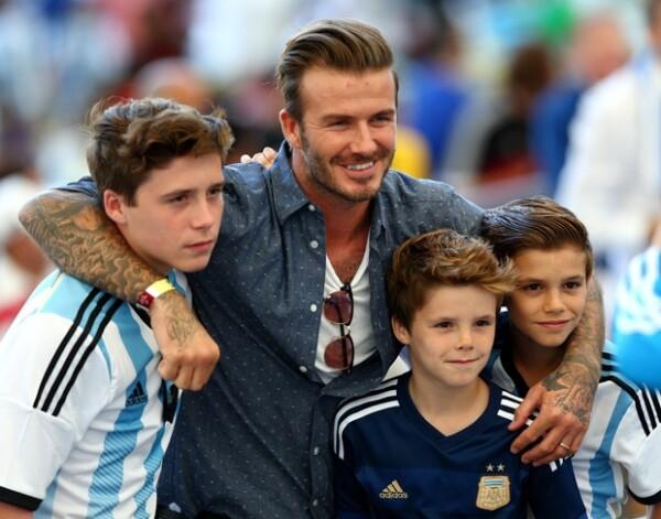 Brooklyn, David, Cruz y Romeo Beckham.