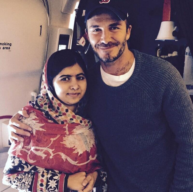 El ex futbolista inglés y la activista paquistaní se encontraron en esta ciudad, donde él aprovechó para expresarle su admiración.