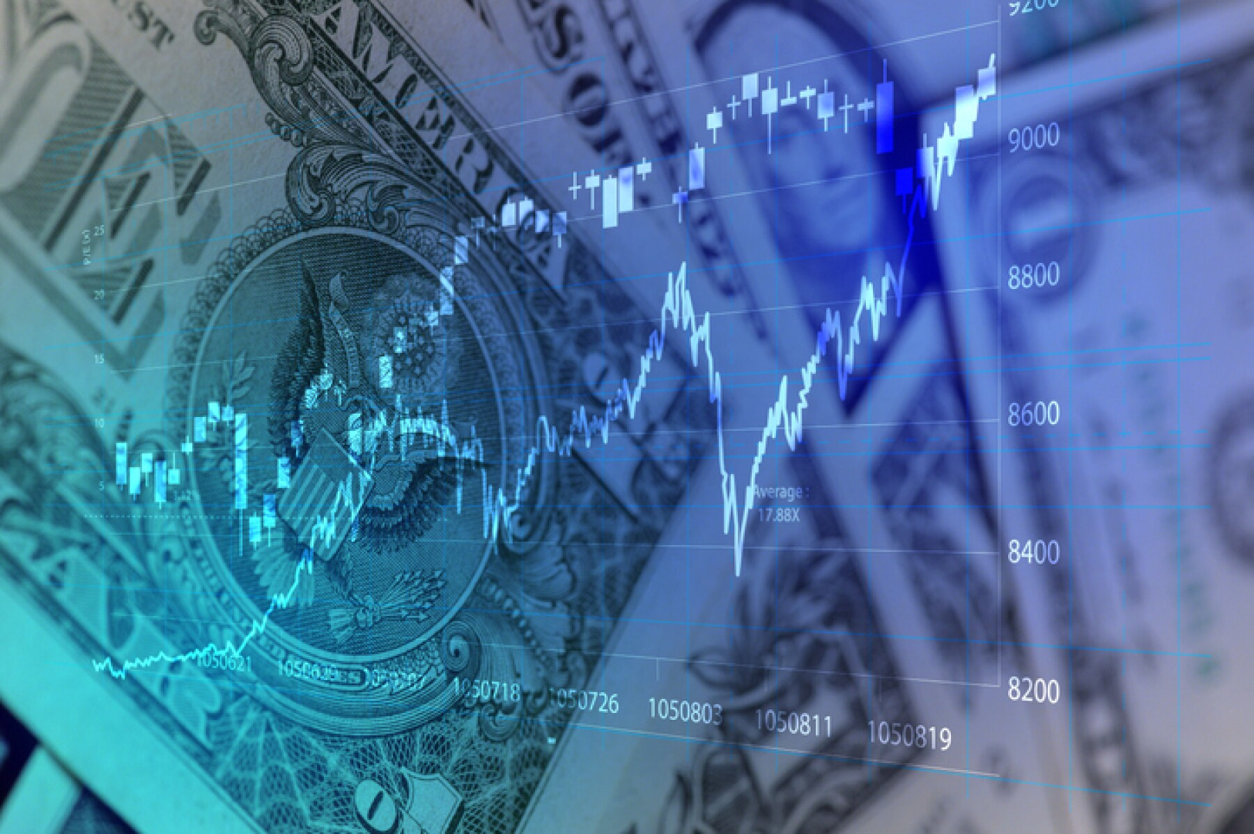 Finance background with USD note and stock chart