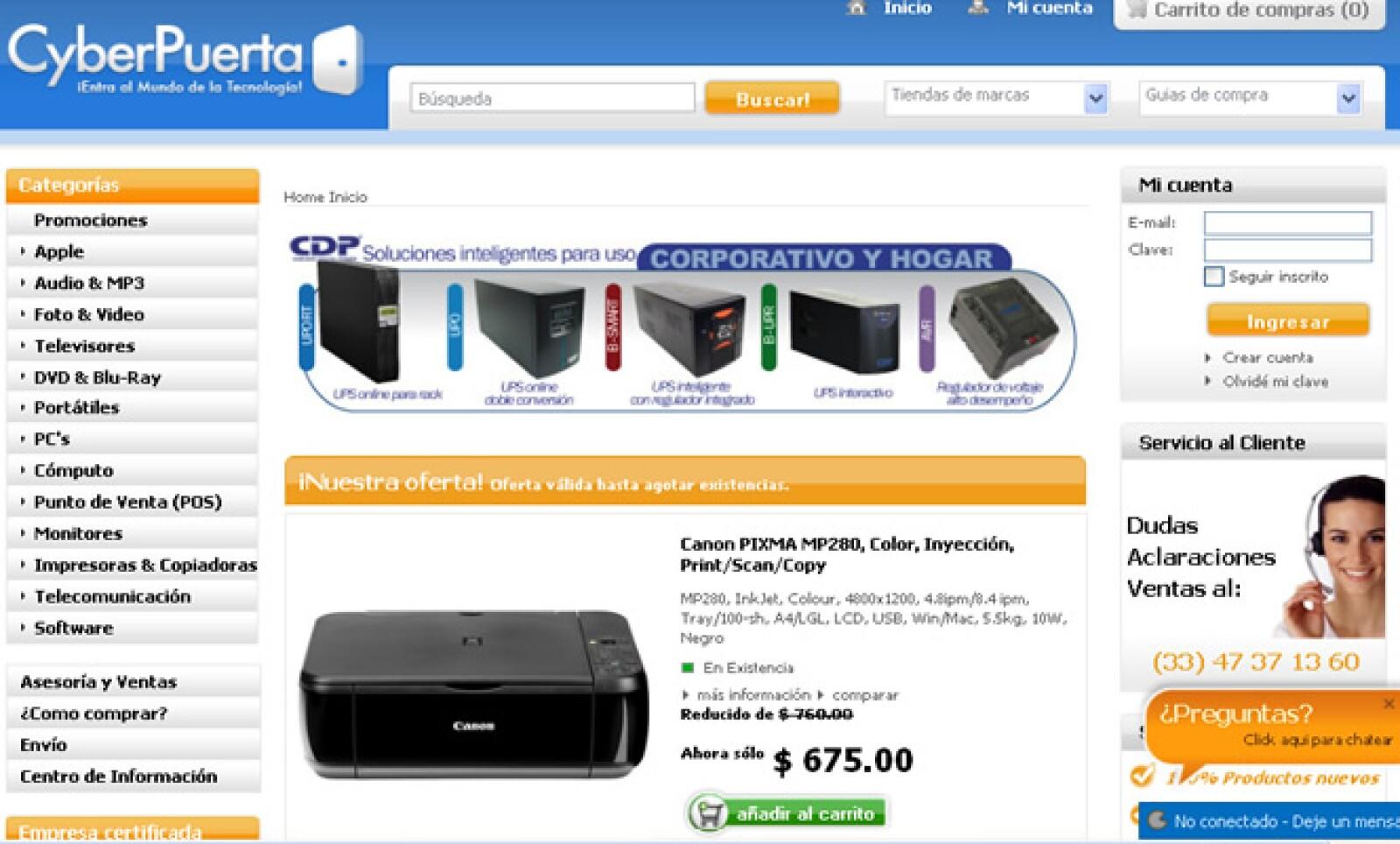 La página de Cyberpuerta cuenta con más de 11,000 productos electrónicos de consumo, que vende en todo México.