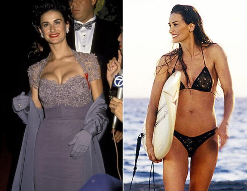 Demi en 1992, a la izquierda, y a la derecha una década después filmando Charlies Angels.