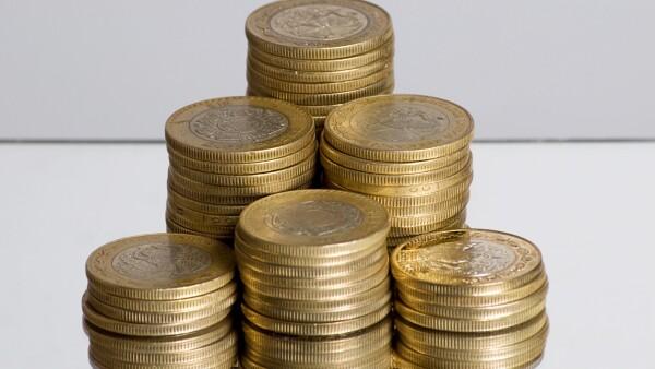 Stacks of Mexican ten peso coins