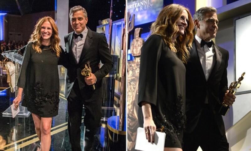 Julia se presentó en noviembre pasado en la entrega de premios BAFTA. En la imagen junto a George Clooney.
