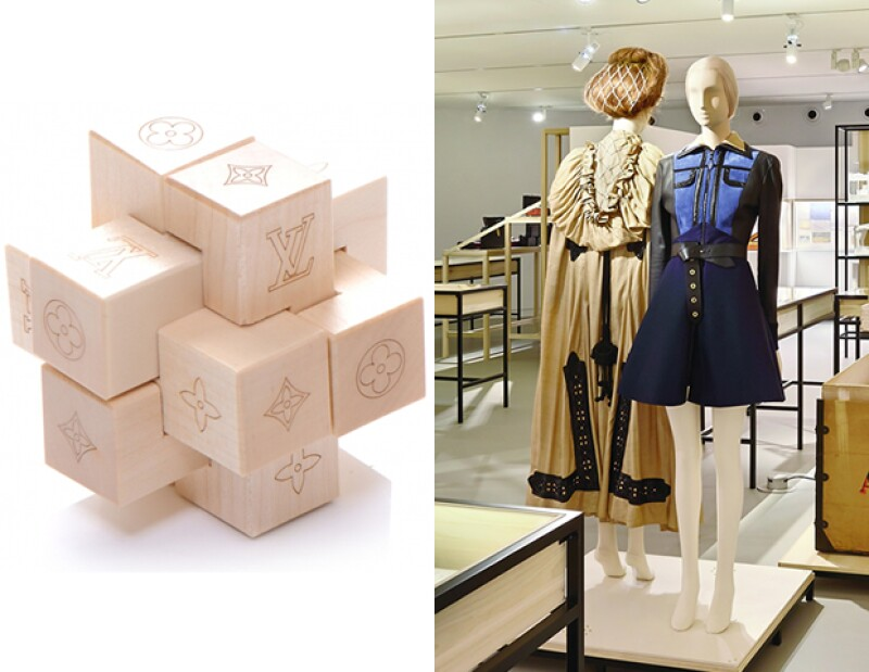 Judith Clark fue la encargada de seleccionar las piezas más icónicas de la maison Vuitton y de diseñar el set inspirada en el juego Patéki (uno parecido al de la imagen) de Gaston-Louis Vuitton.