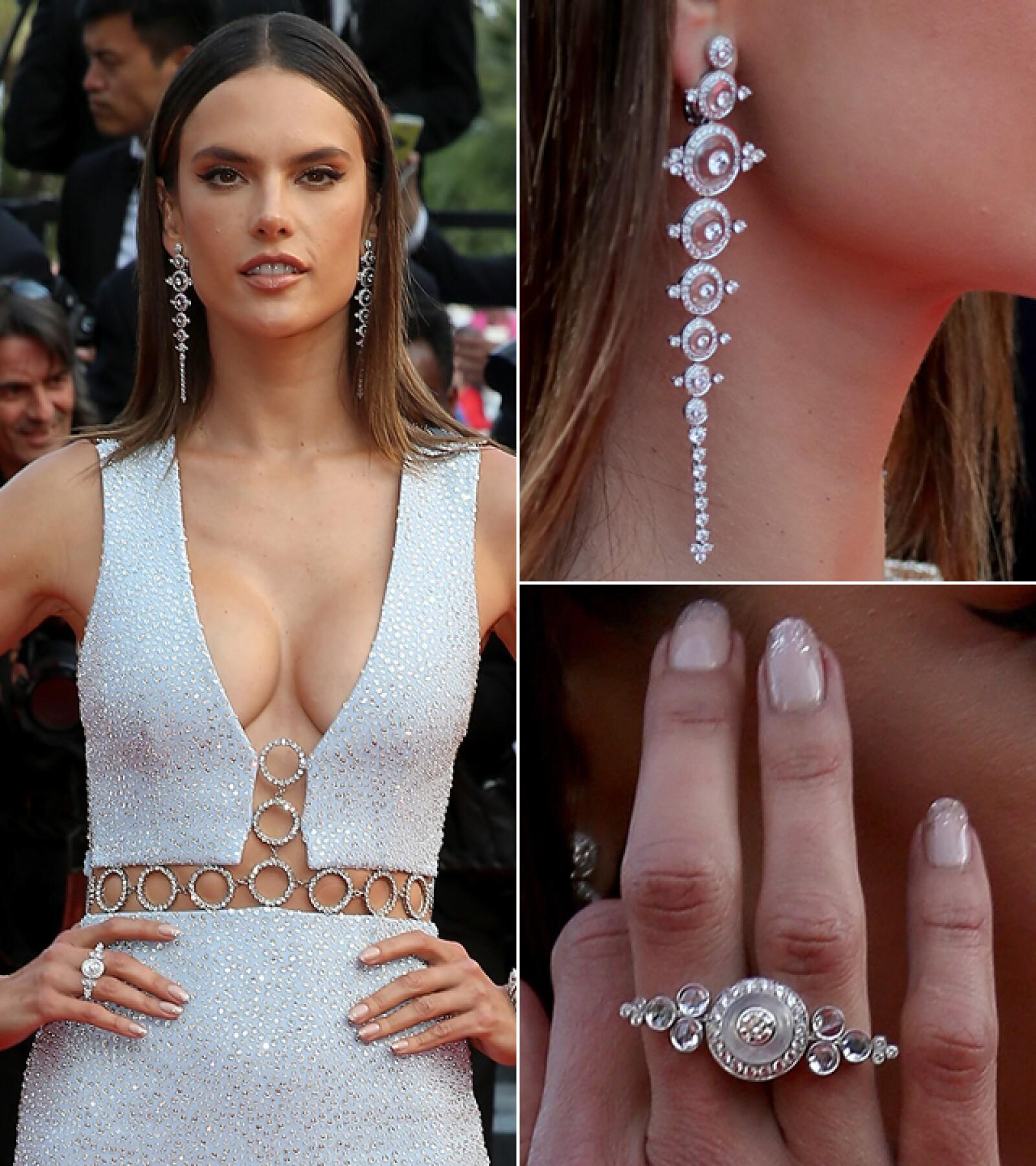 Alessandra Ambrosio estuvo presente en la premiere de `Unknown Girl´ a la cual llevó aretes de pendientes y anillo en oro blanco, cristal y diamantes de Boucheron.