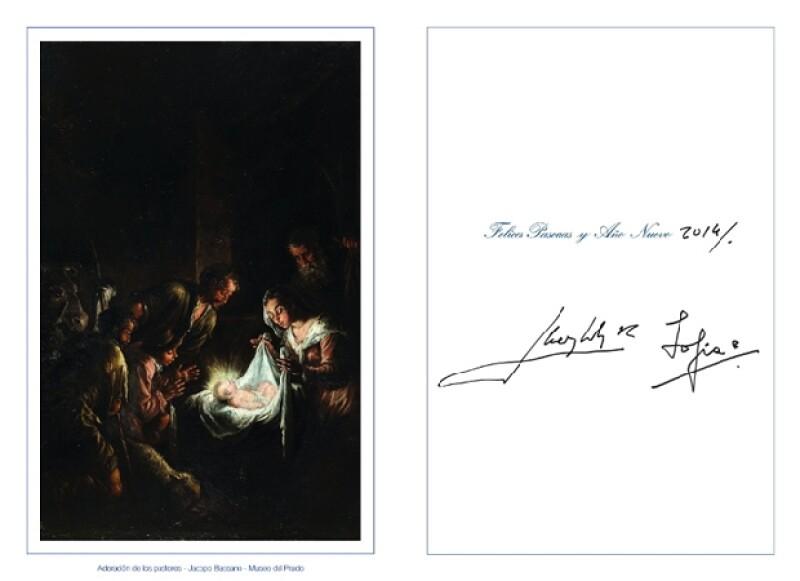Los Reyes Juan Carlos y Sofía también firmaron su tarjeta.