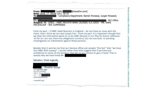 Un correo de un empleado de Mossack Fonseca fechado en febrero de 2011