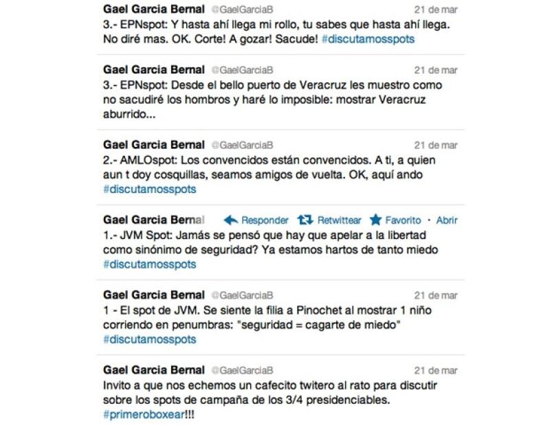 La cuenta de Twitter de Gael García Bernal.