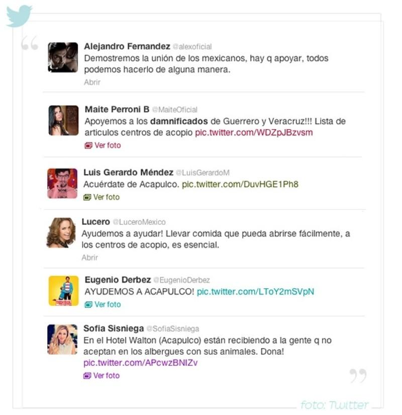 Muchos son los famosos que han pedido ayuda por Twitter para los damnificados.