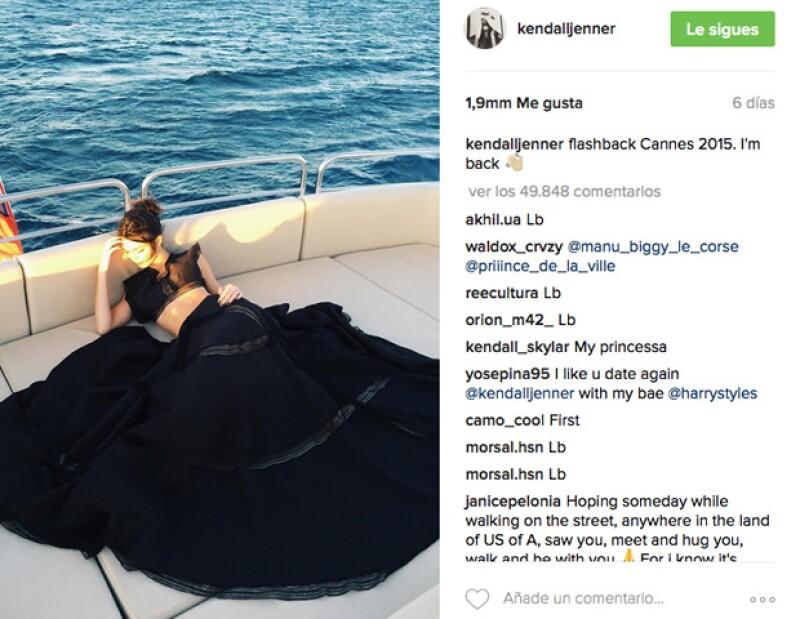 Kendall nos muestra sus recuerdos del año pasado en Cannes.
