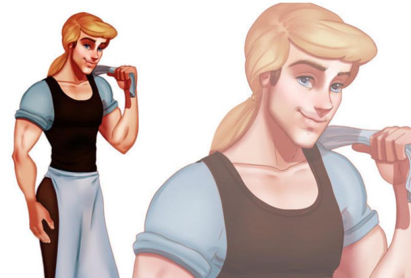 Desde Cenicienta hasta Ariel, el ilustrador Isaiah Stephens ha plasmado su imagen en versión masculina.