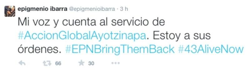 Epigmenio Ibarra usó el hashtag EPN Bring Them Back en su cuenta de Twitter.