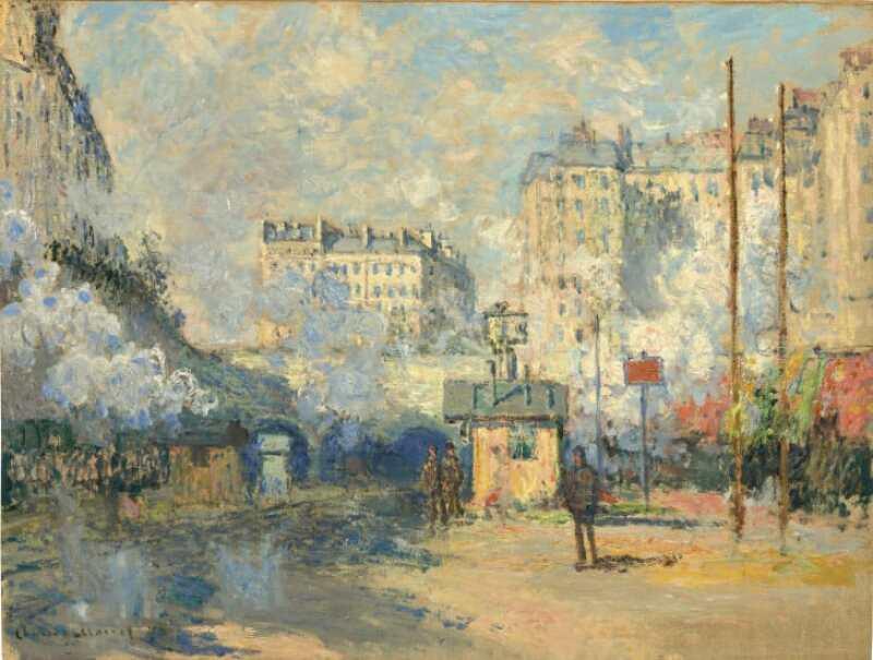 Extérieur de la gare Saint-Lazare, effet de soleil (1877), de Claude Monet