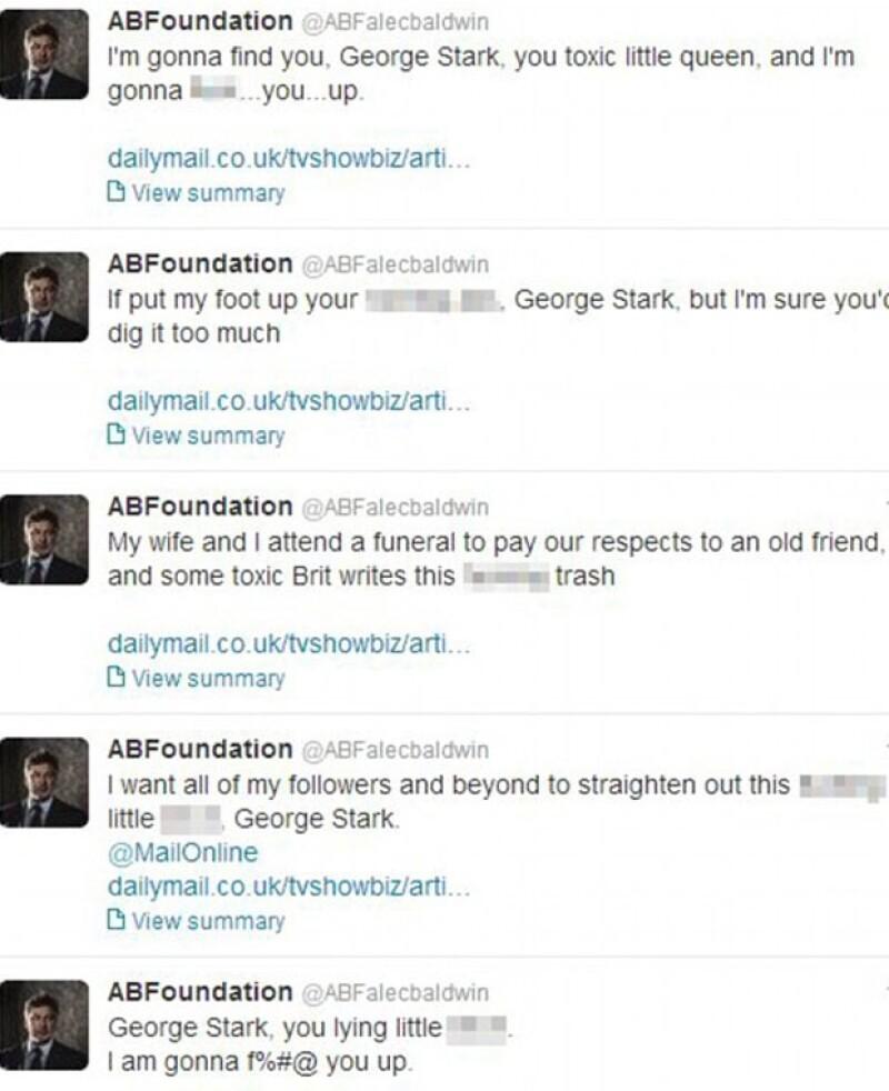 George Stark, reportero del Daily Mail aseguró que la esposa del actor, Hilaria Thomas, había tuiteado trivialidades durante el funeral del Gandolfini, hecho que irritó fuertemente a Baldwin.