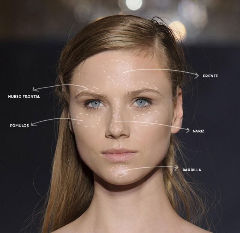 Aplica iluminador en los pómulos, el hueso frontal, el centro de la frente, la nariz y la barbilla.